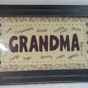 Framed Hand stitched Grandma wall pictue
